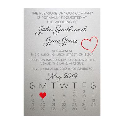 Shimmer Arctic White Cute Heart Wedding Invitations