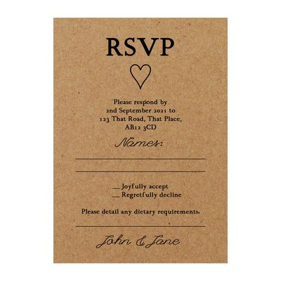 Recycled Brown Kraft It Takes Two RSVP Dietary Requirement Cards
