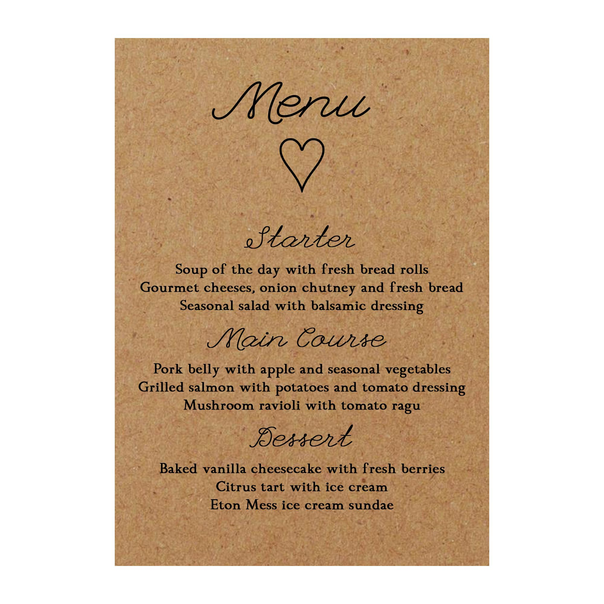 Recycled Brown Kraft It Takes Two Menu Cards