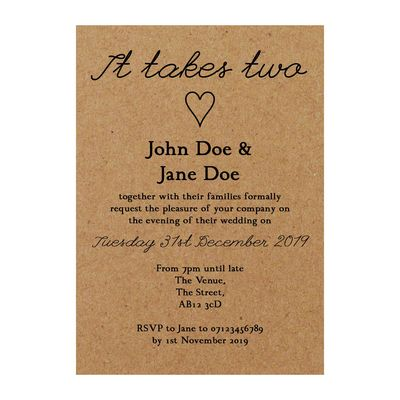 Recycled Brown Kraft It Takes Two Reception Invitations