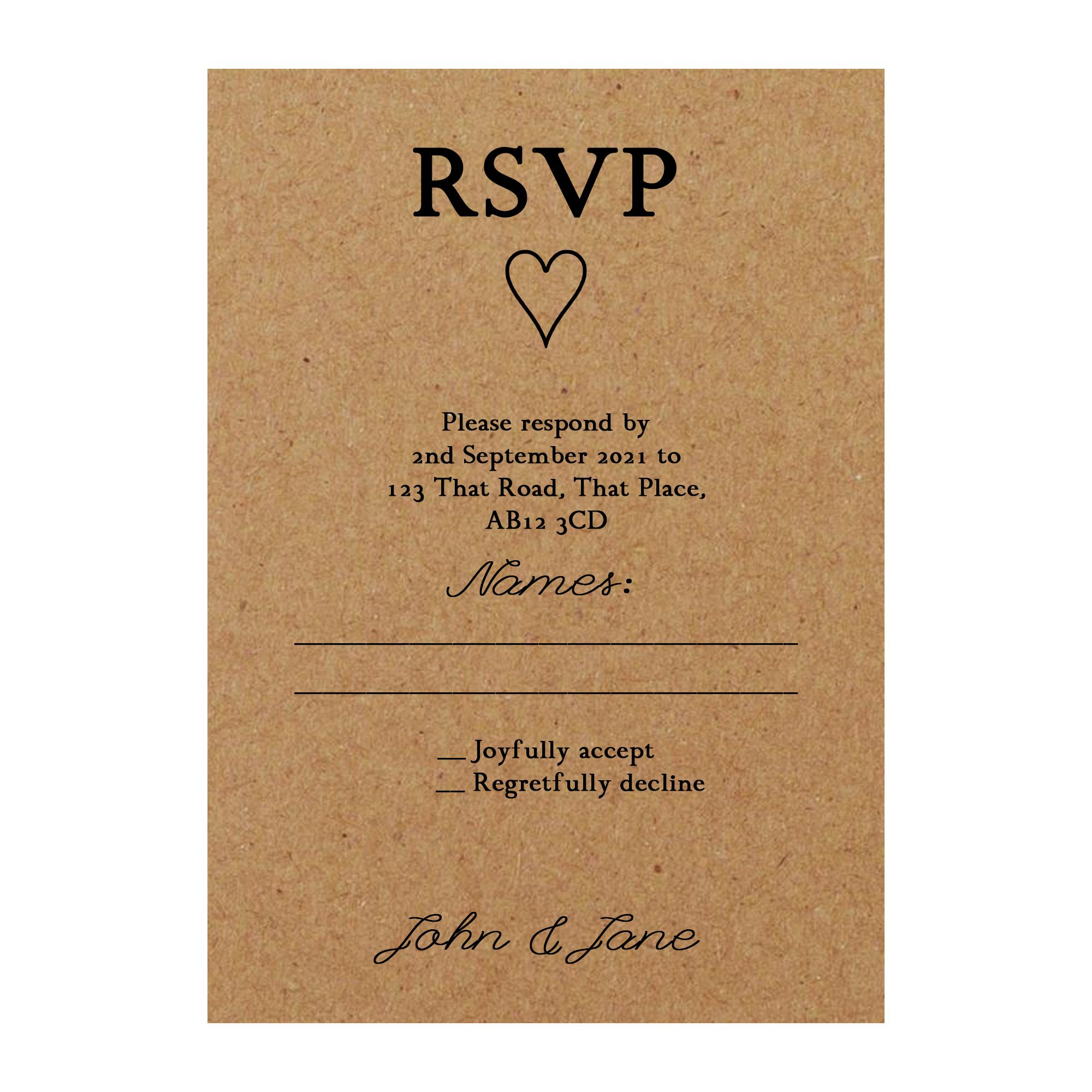 Recycled Brown Kraft It Takes Two RSVP Cards