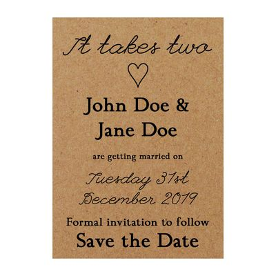 Recycled Brown Kraft It Takes Two Save the Date Cards