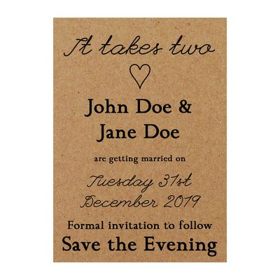 Recycled Brown Kraft It Takes Two Save the Evening Cards
