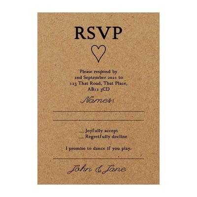 Recycled Brown Kraft It Takes Two RSVP Song Request Cards
