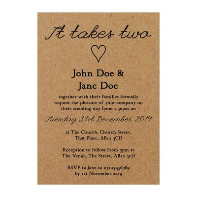 Recycled Brown Kraft It Takes Two Wedding Invitations