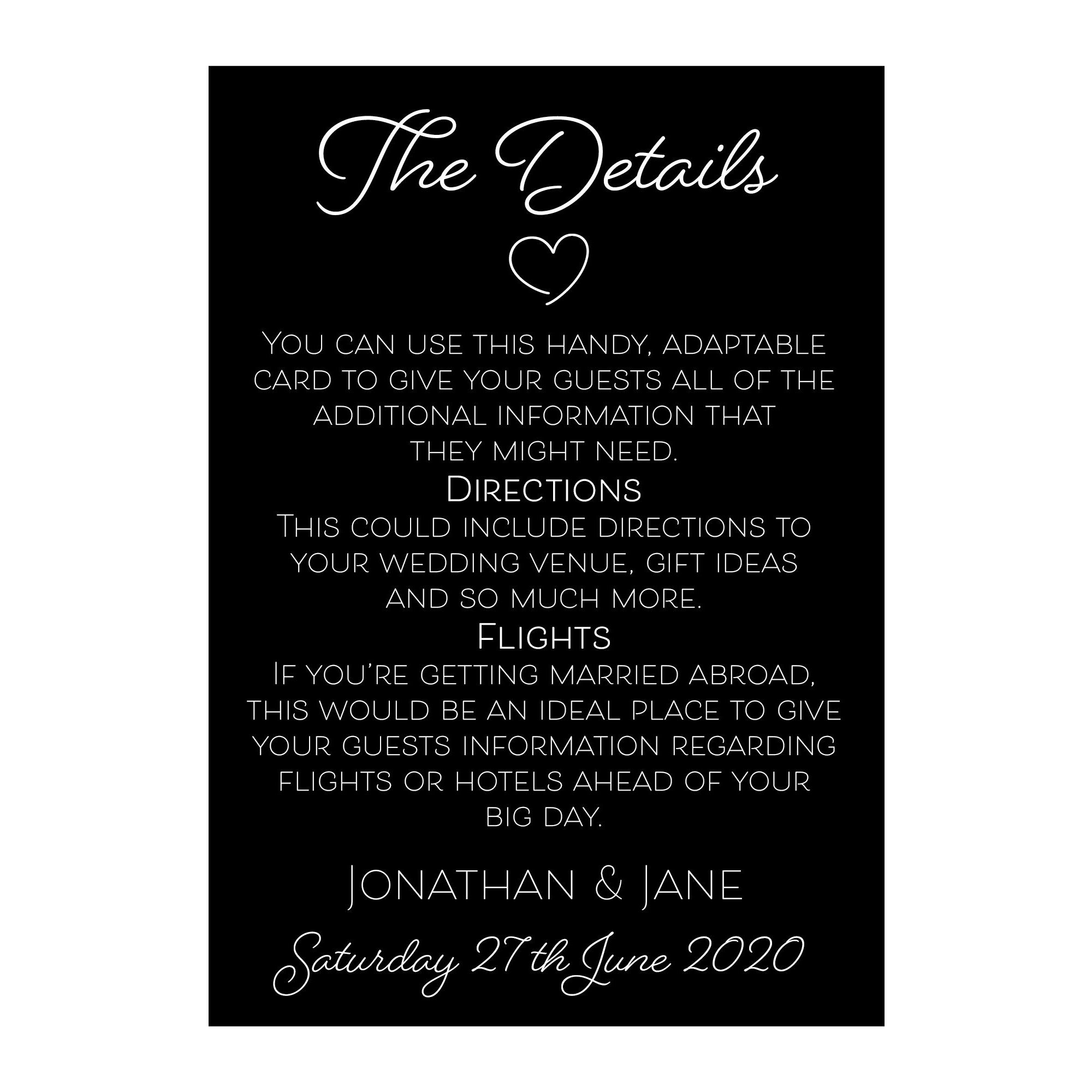 Black with White Ink Cute Heart Guest Information Cards
