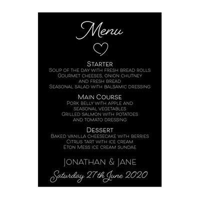 Black with White Ink Cute Heart Menu Cards