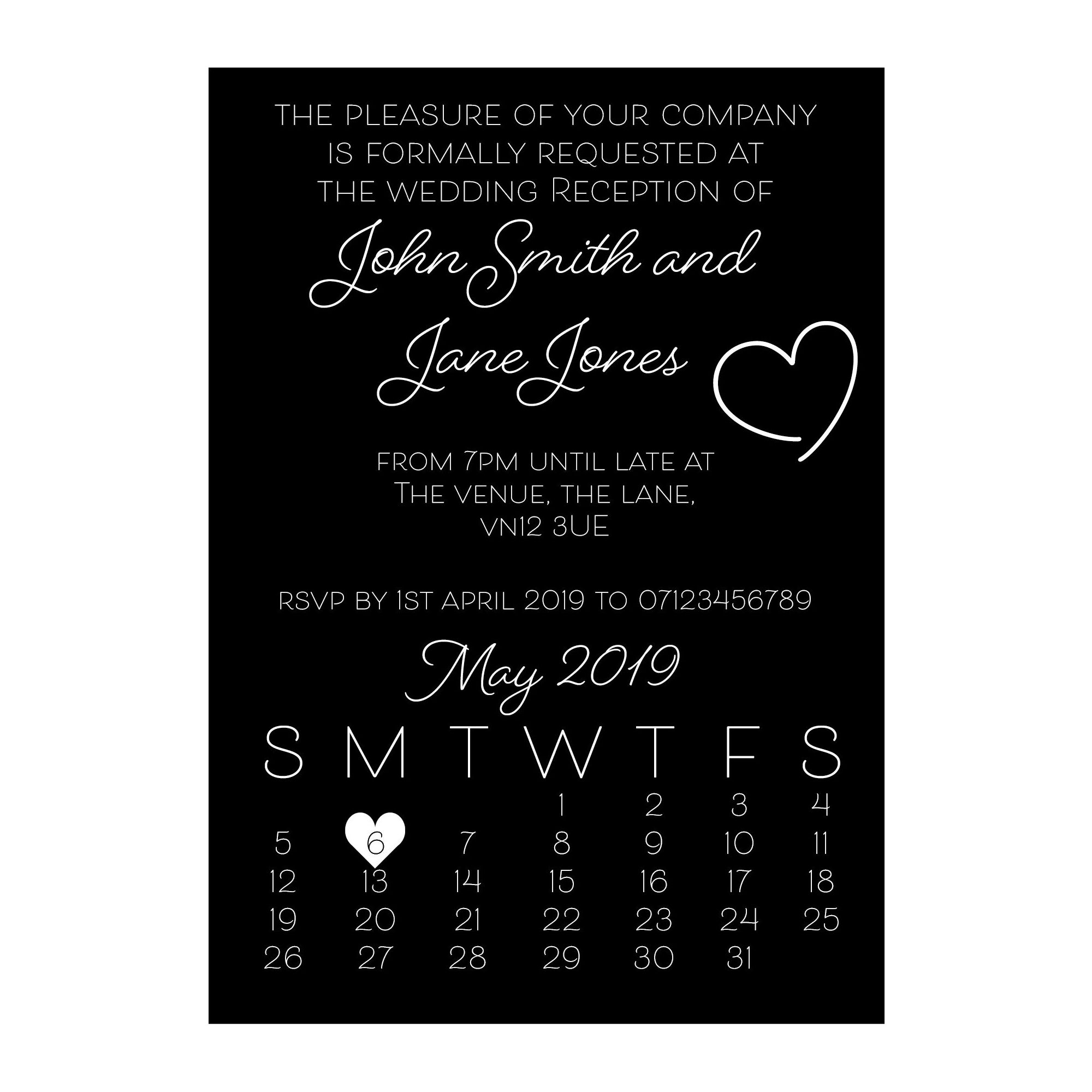 Black with White Ink Cute Heart Reception Invitations