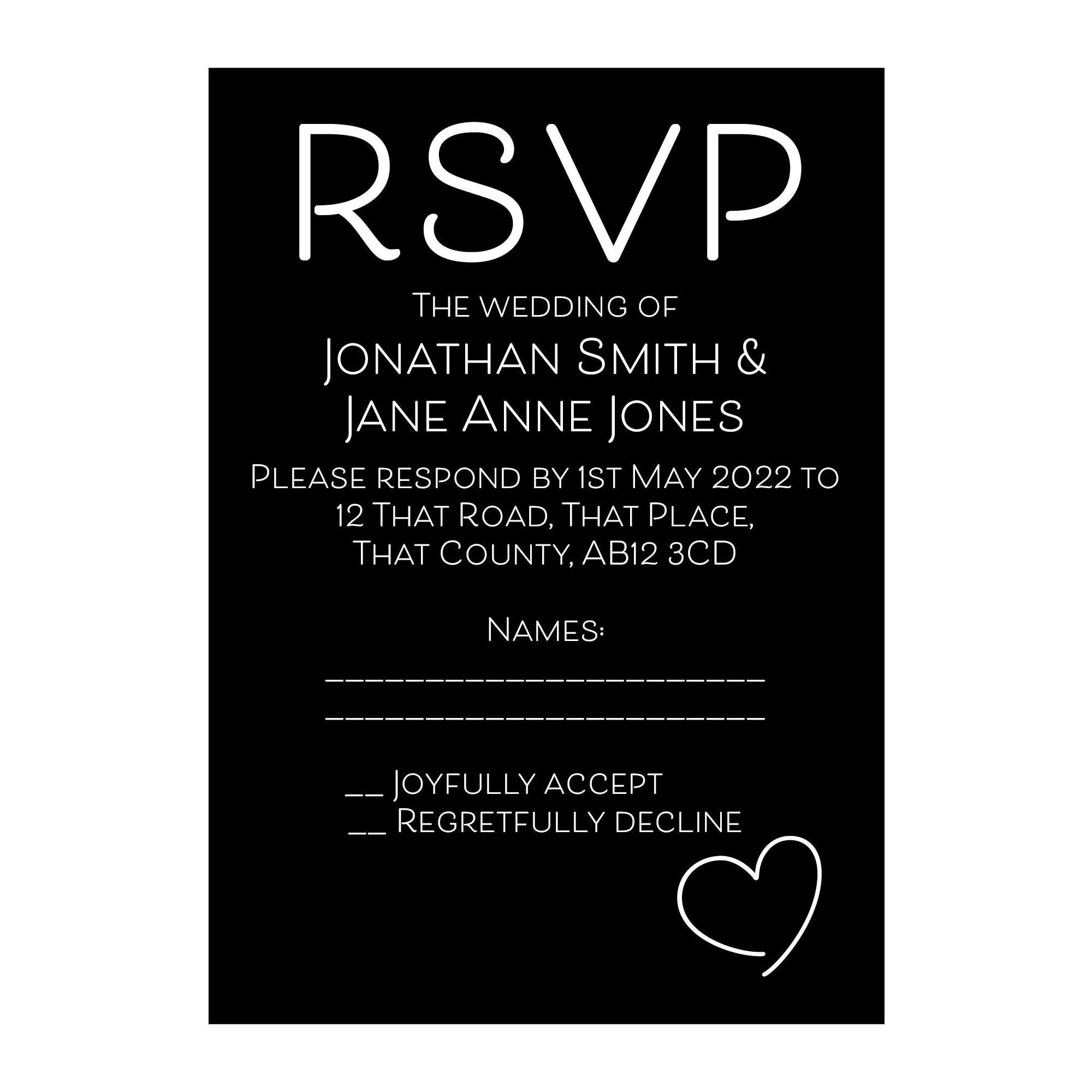 Black with White Ink Cute Heart RSVP Cards