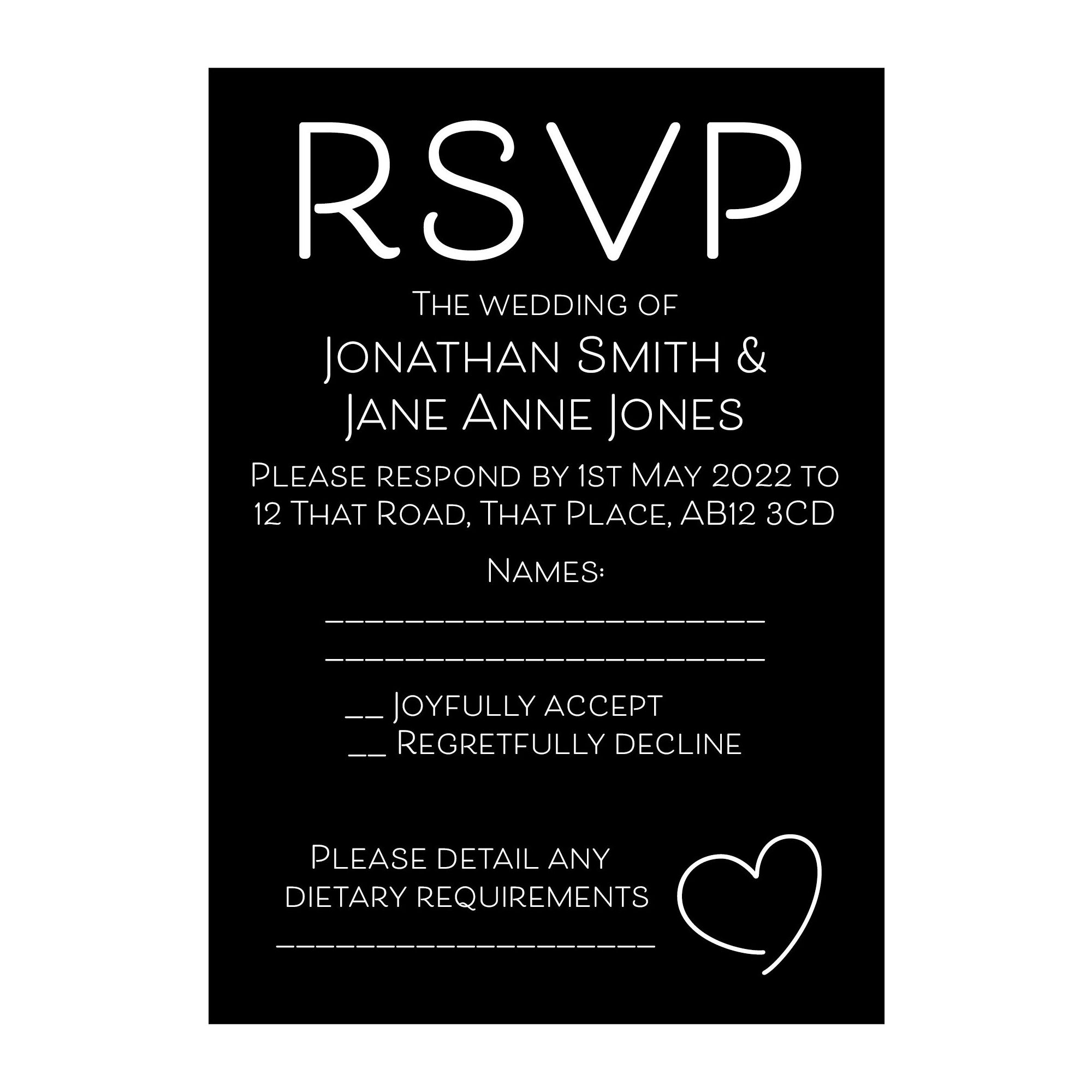 Black with White Ink Cute Heart RSVP Dietary Requirement Cards