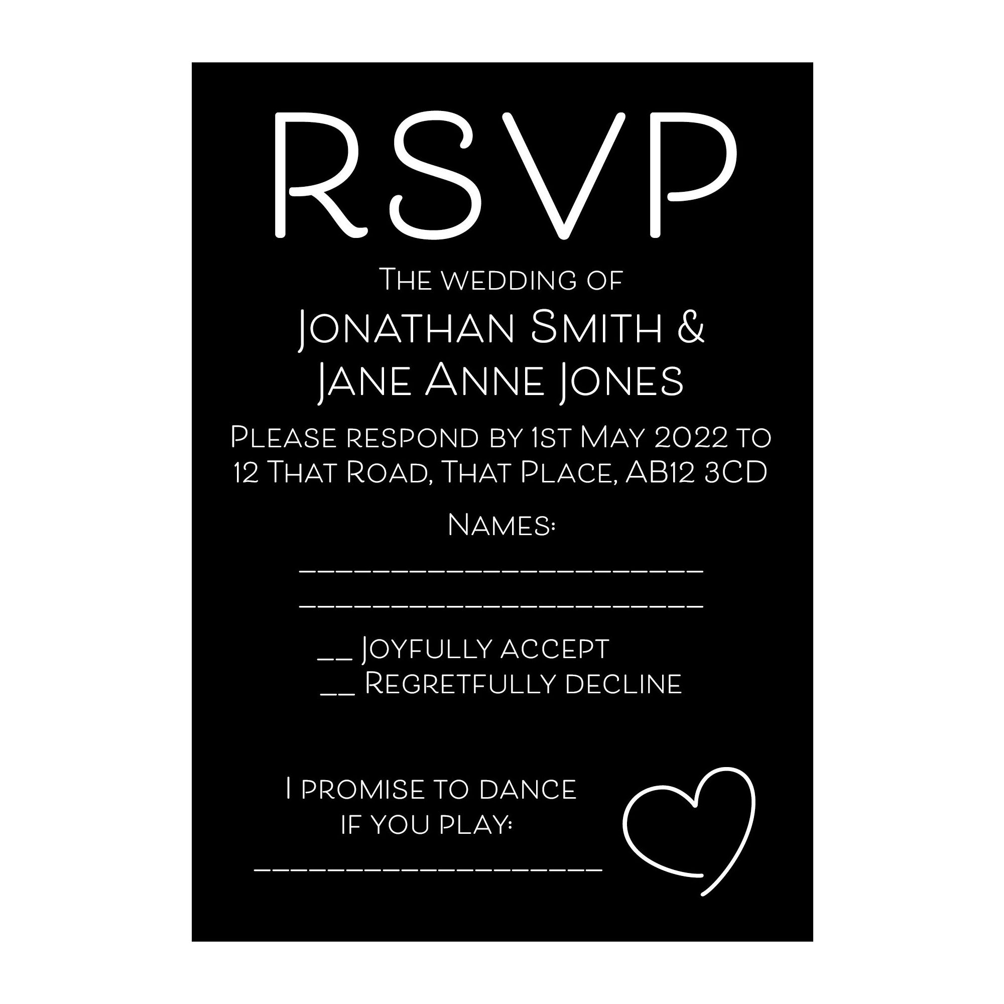 Black with White Ink Cute Heart RSVP Song Request Cards