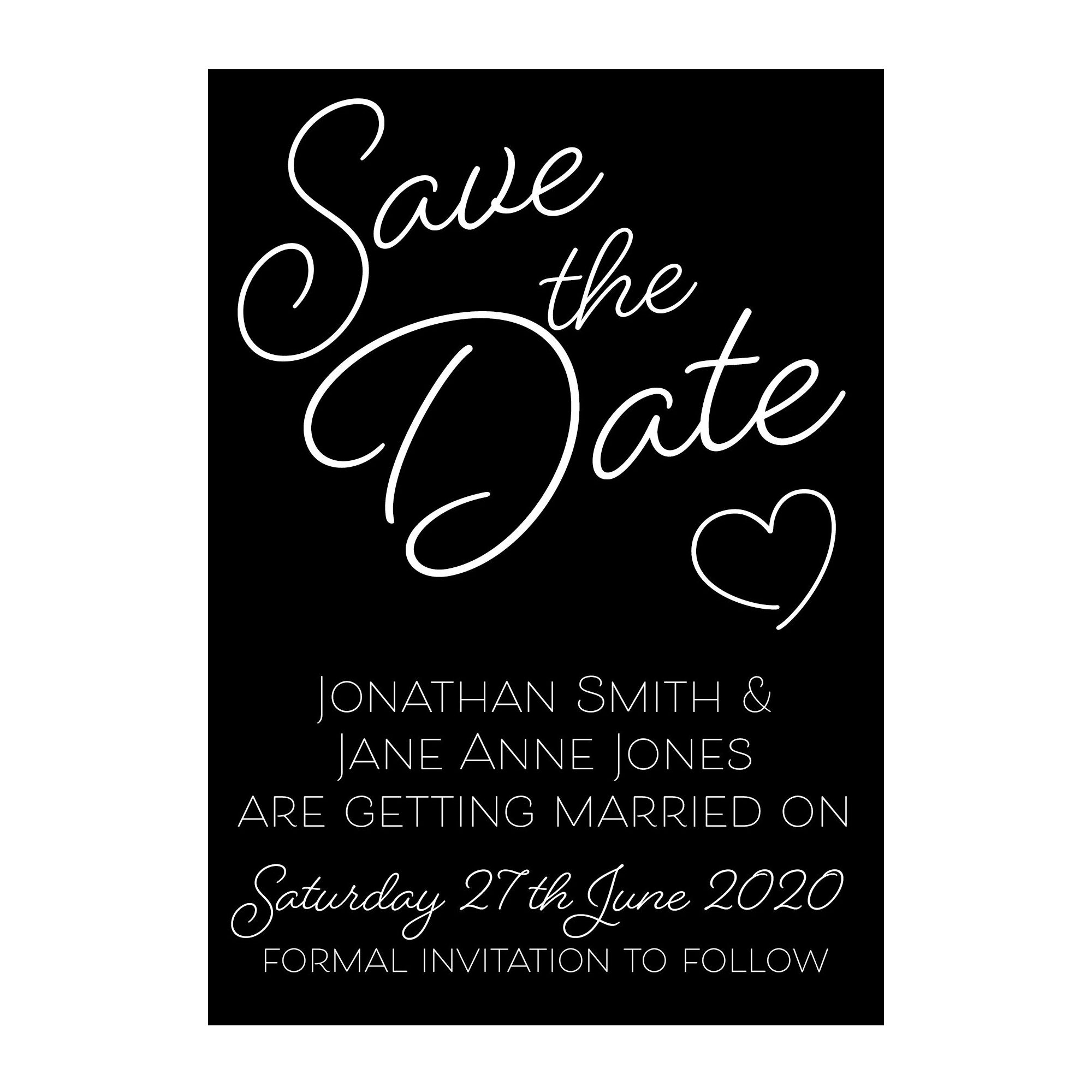 Black with White Ink Cute Heart Save the Date Cards