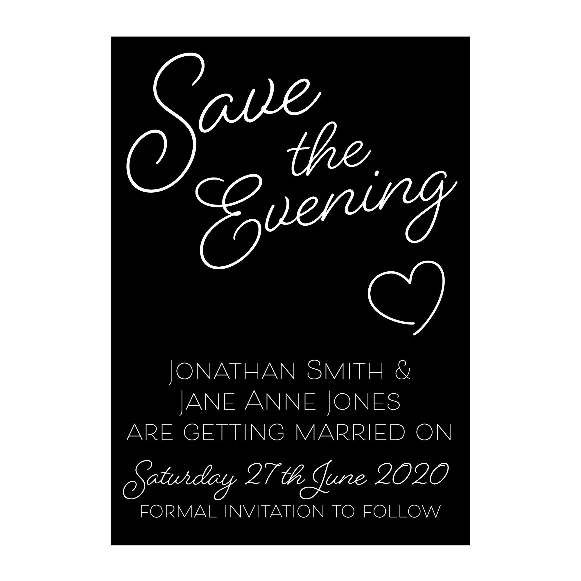 Black with White Ink Cute Heart Save the Evening Cards