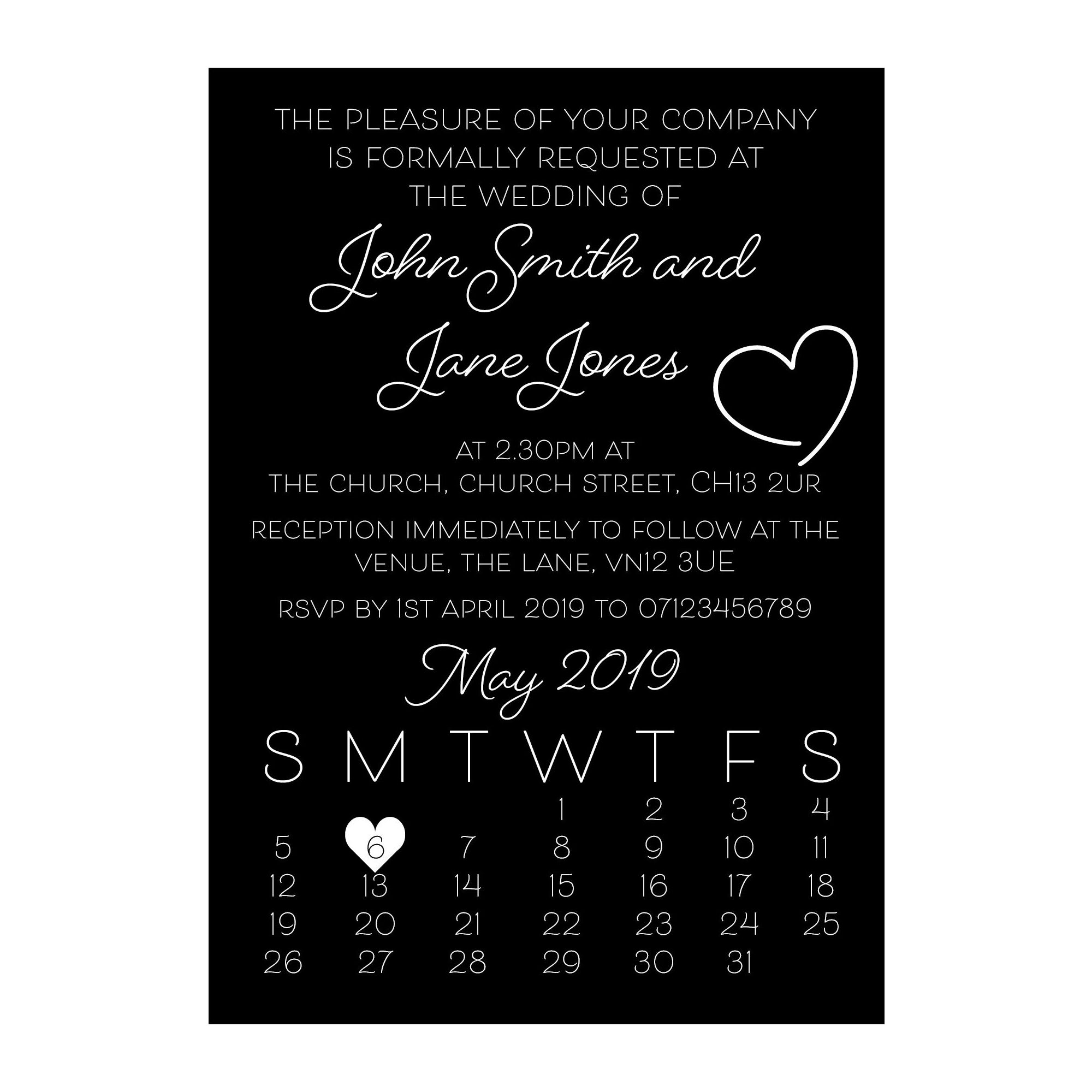 Black with White Ink Cute Heart Wedding Invitations