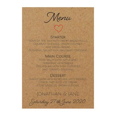 Recycled Brown Kraft Cute Heart Menu Cards