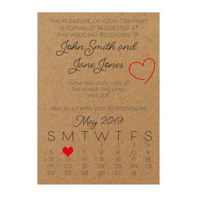 Recycled Brown Kraft Cute Heart Reception Invitations