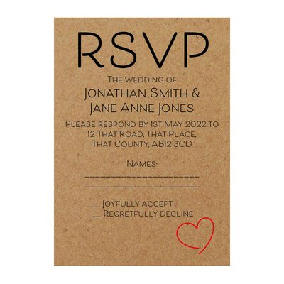 Recycled Brown Kraft Cute Heart RSVP Cards