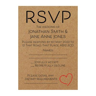 Recycled Brown Kraft Cute Heart RSVP Dietary Requirement Cards