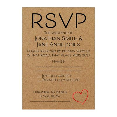 Recycled Brown Kraft Cute Heart RSVP Song Request Cards
