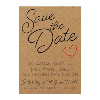 Recycled Brown Kraft Cute Heart Save the Date Cards