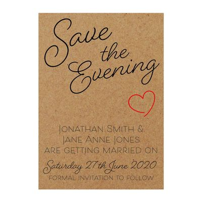 Recycled Brown Kraft Cute Heart Save the Evening Cards