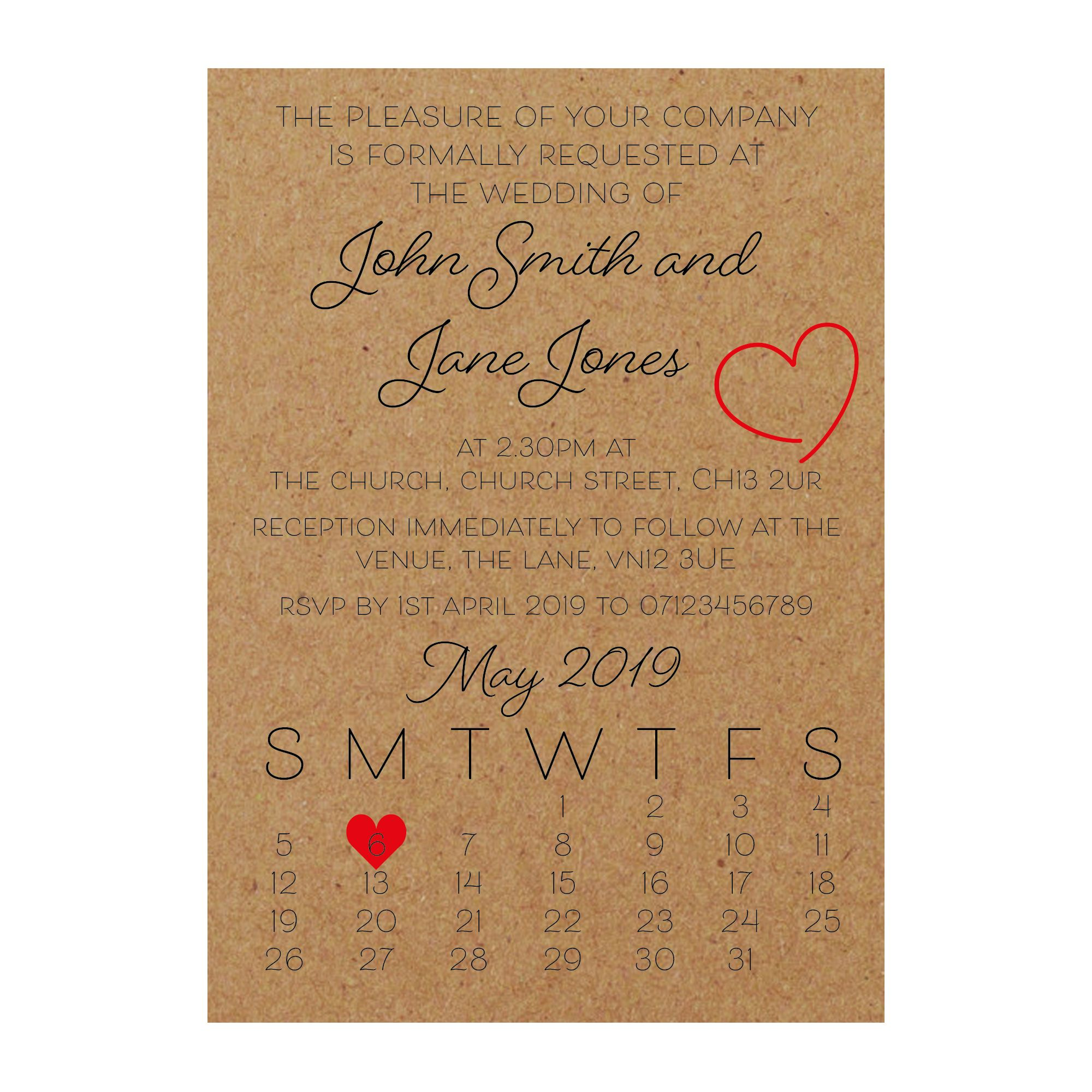 Recycled Brown Kraft Cute Heart Wedding Invitations