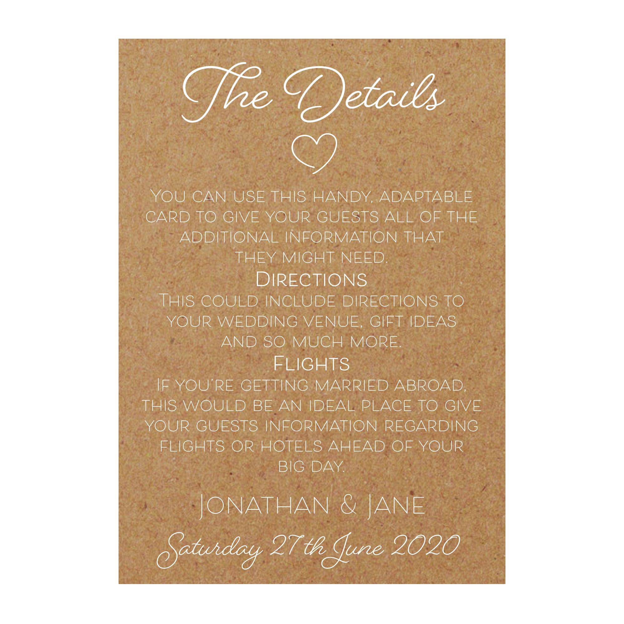 Recycled Brown Kraft with White Ink Cute Heart Guest Information Cards