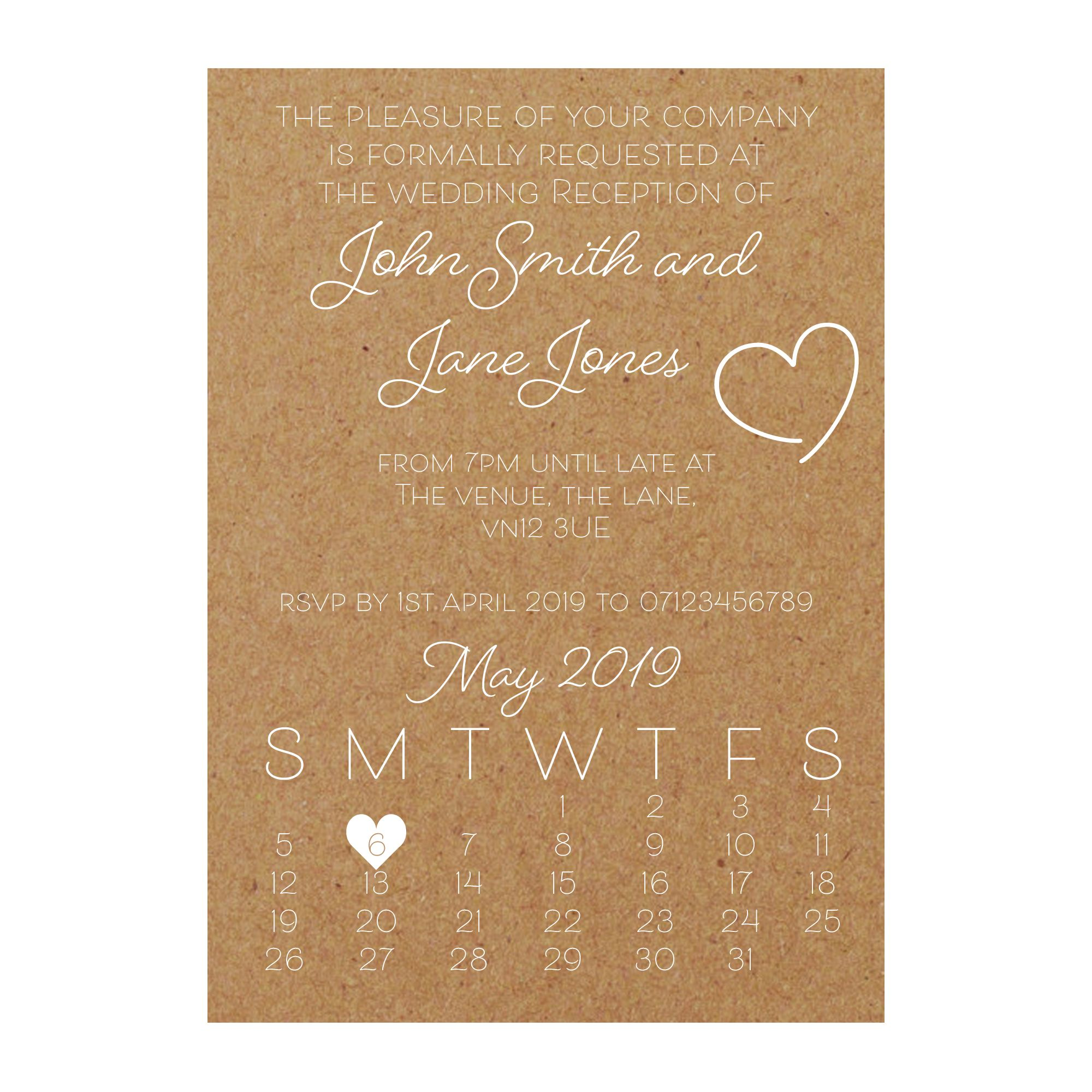 Recycled Brown Kraft with White Ink Cute Heart Reception Invitations
