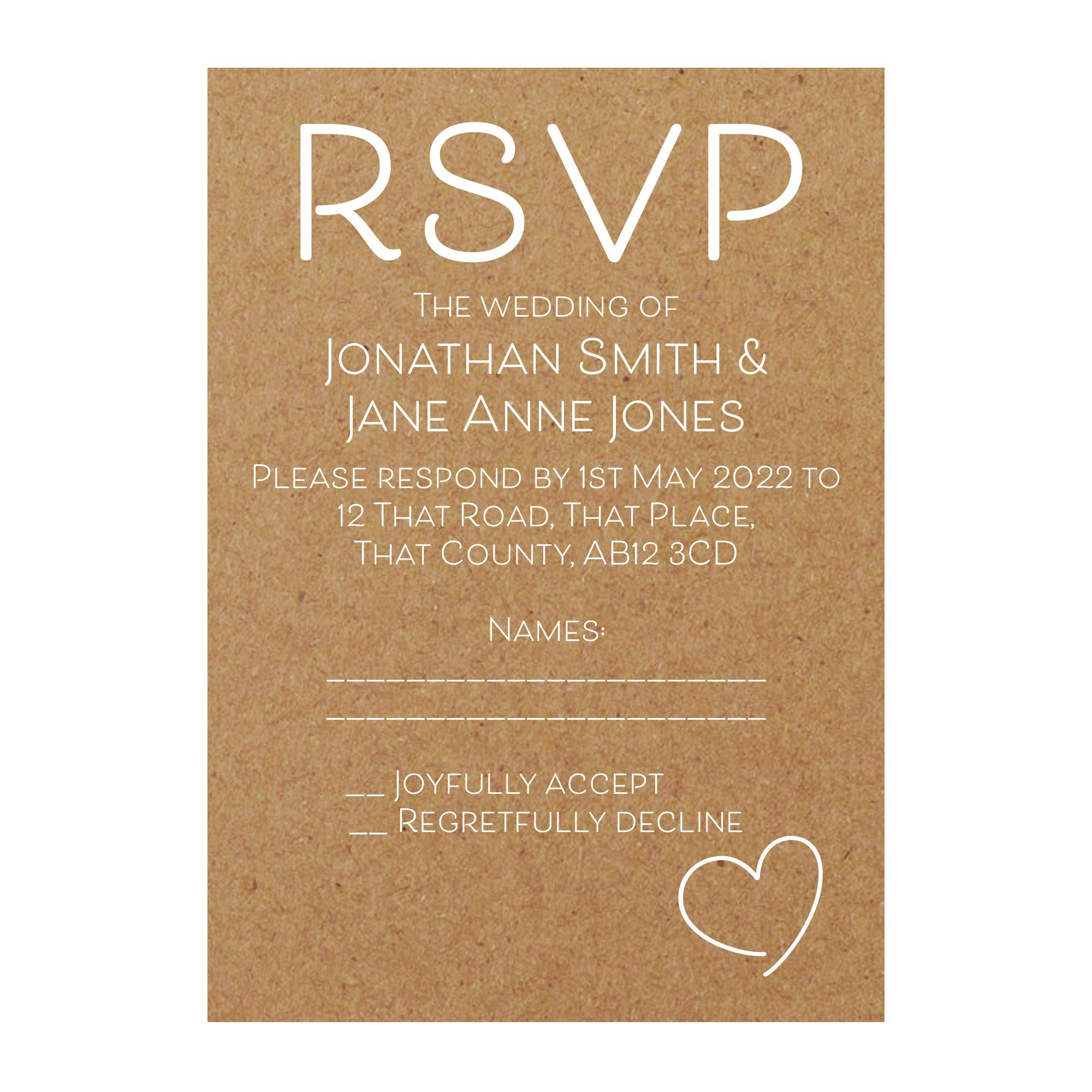 Recycled Brown Kraft with White Ink Cute Heart RSVP Cards