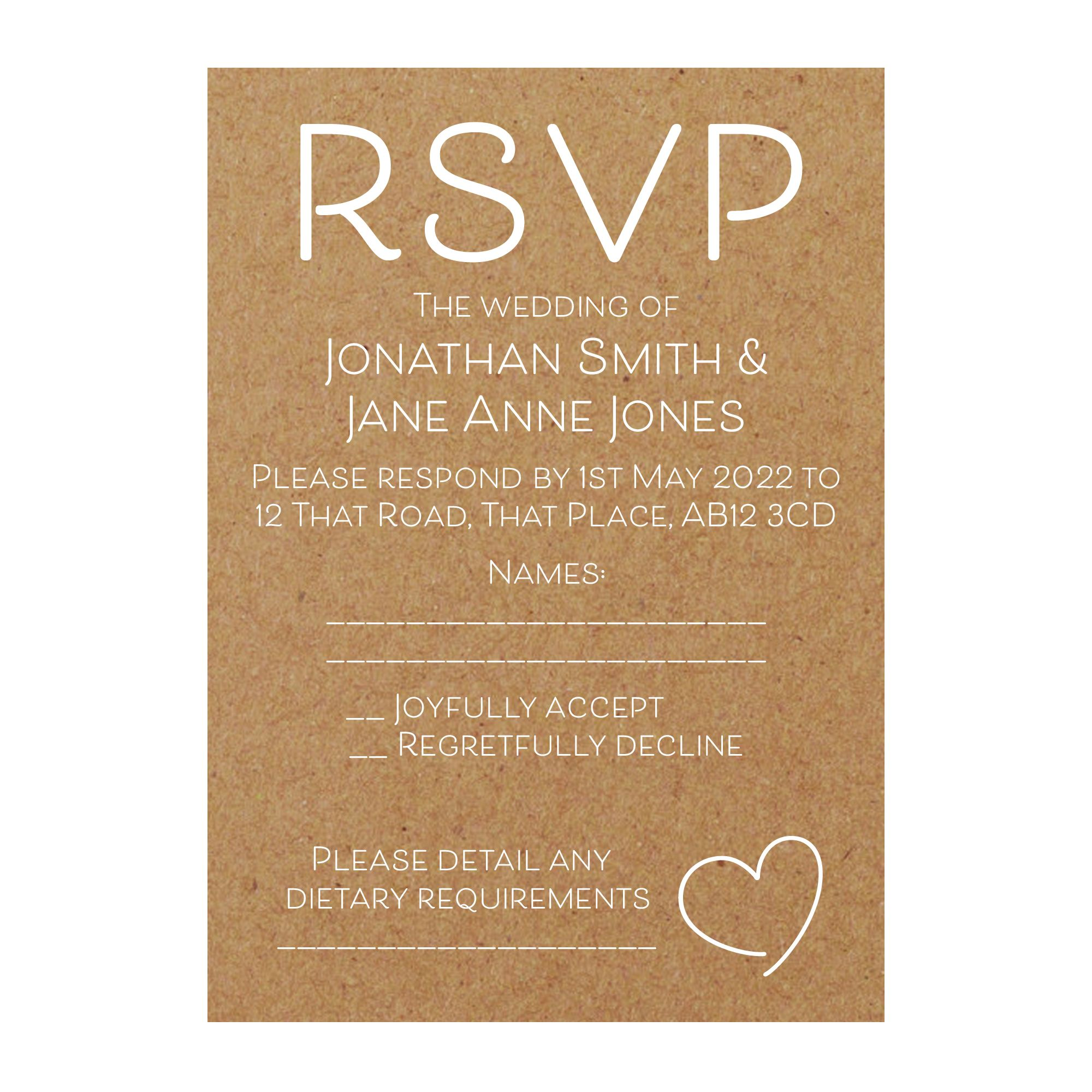 Recycled Brown Kraft with White Ink Cute Heart RSVP Dietary Requirement Cards