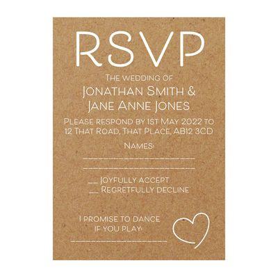 Recycled Brown Kraft with White Ink Cute Heart RSVP Song Request Cards