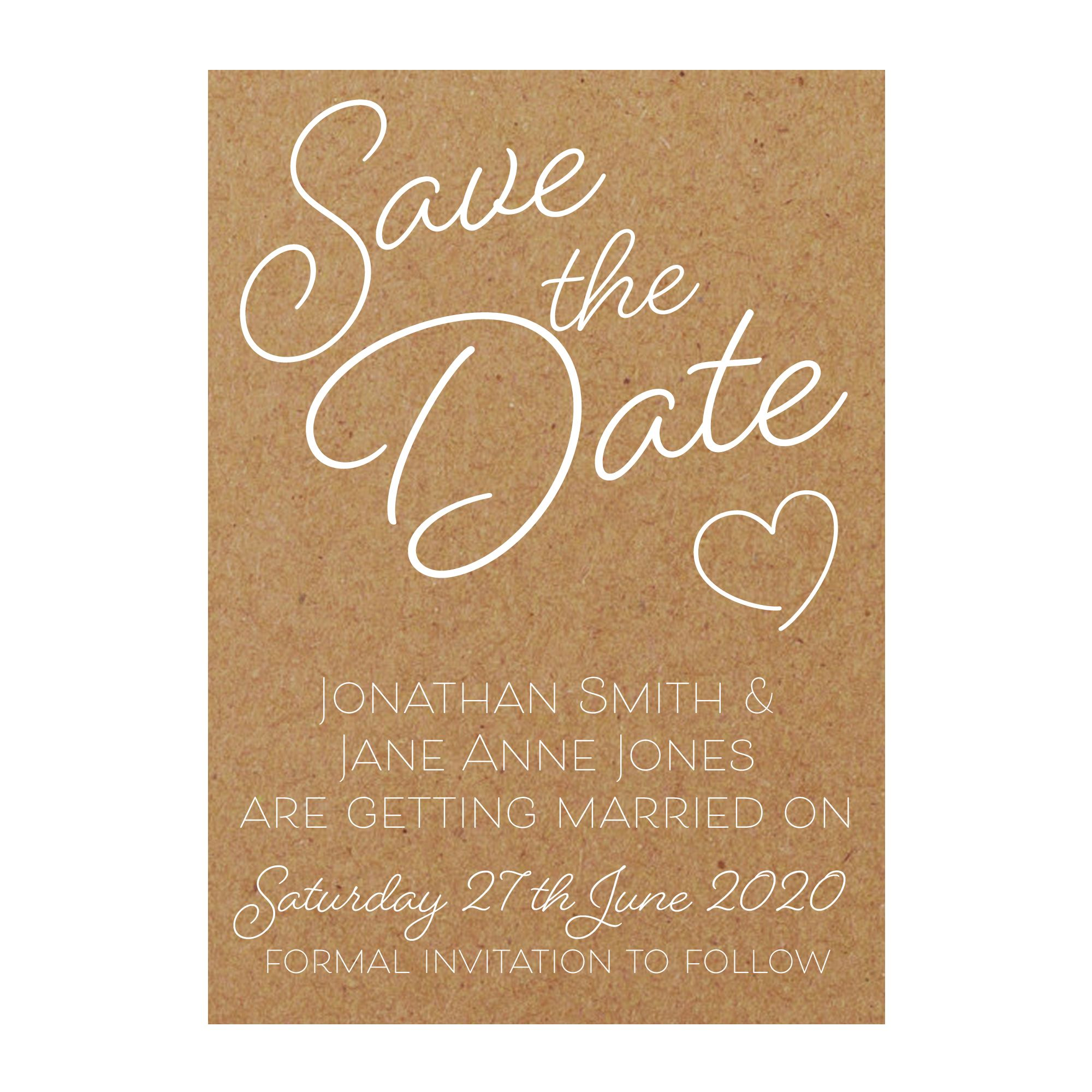 Recycled Brown Kraft with White Ink Cute Heart Save the Date Cards