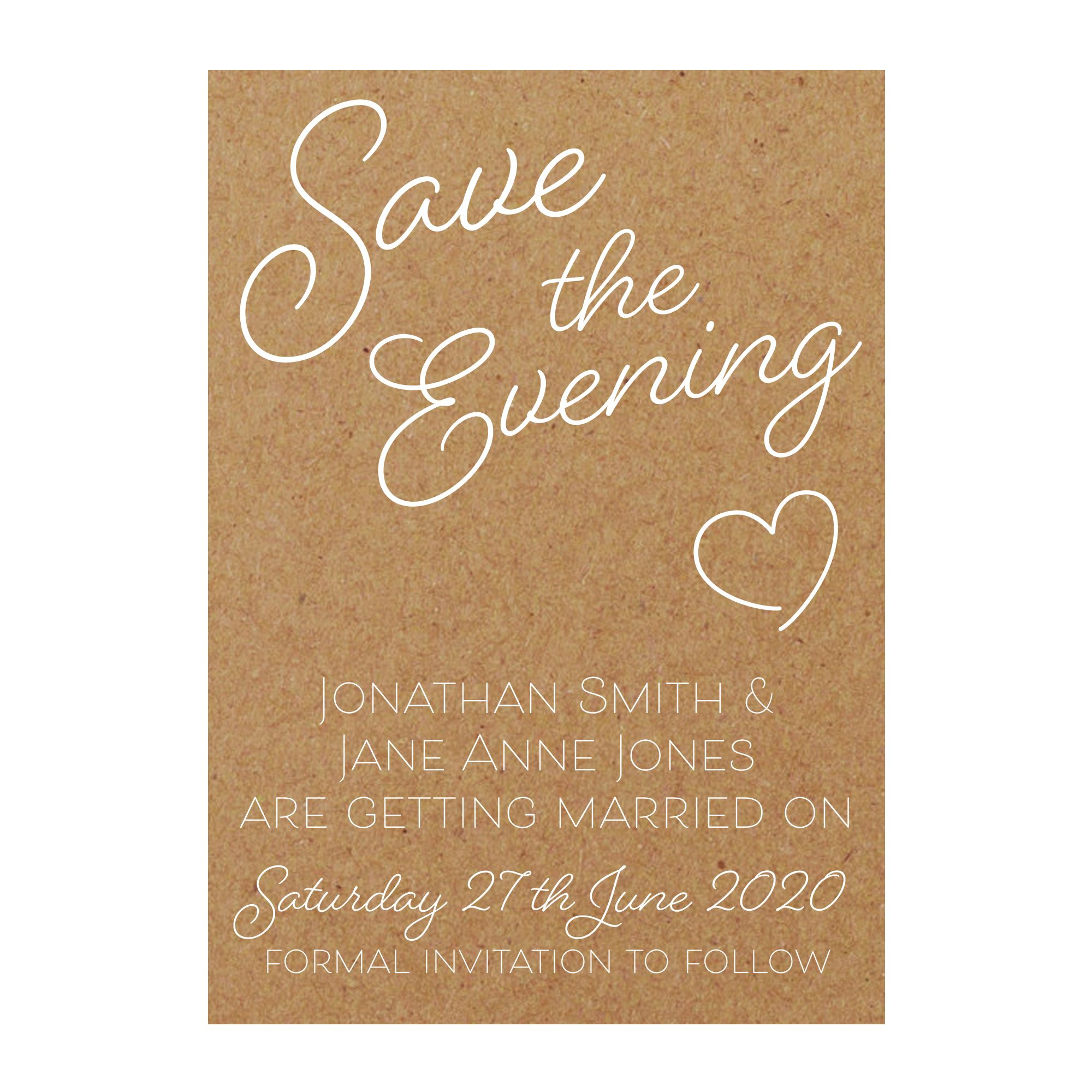 Recycled Brown Kraft with White Ink Cute Heart Save the Evening Cards
