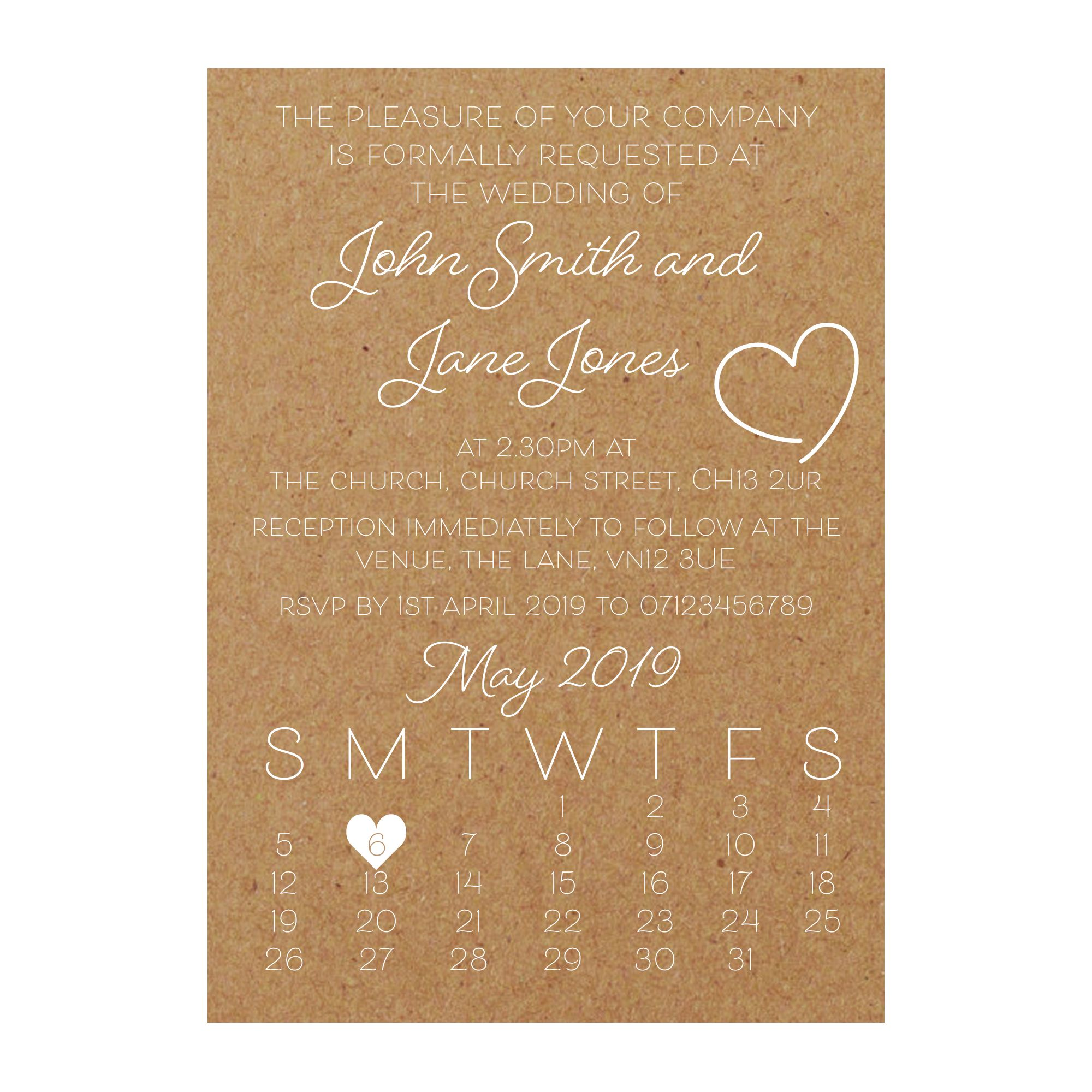 Recycled Brown Kraft with White Ink Cute Heart Wedding Invitations