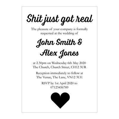 White Recycled Shit Just Got Real Wedding Invitations