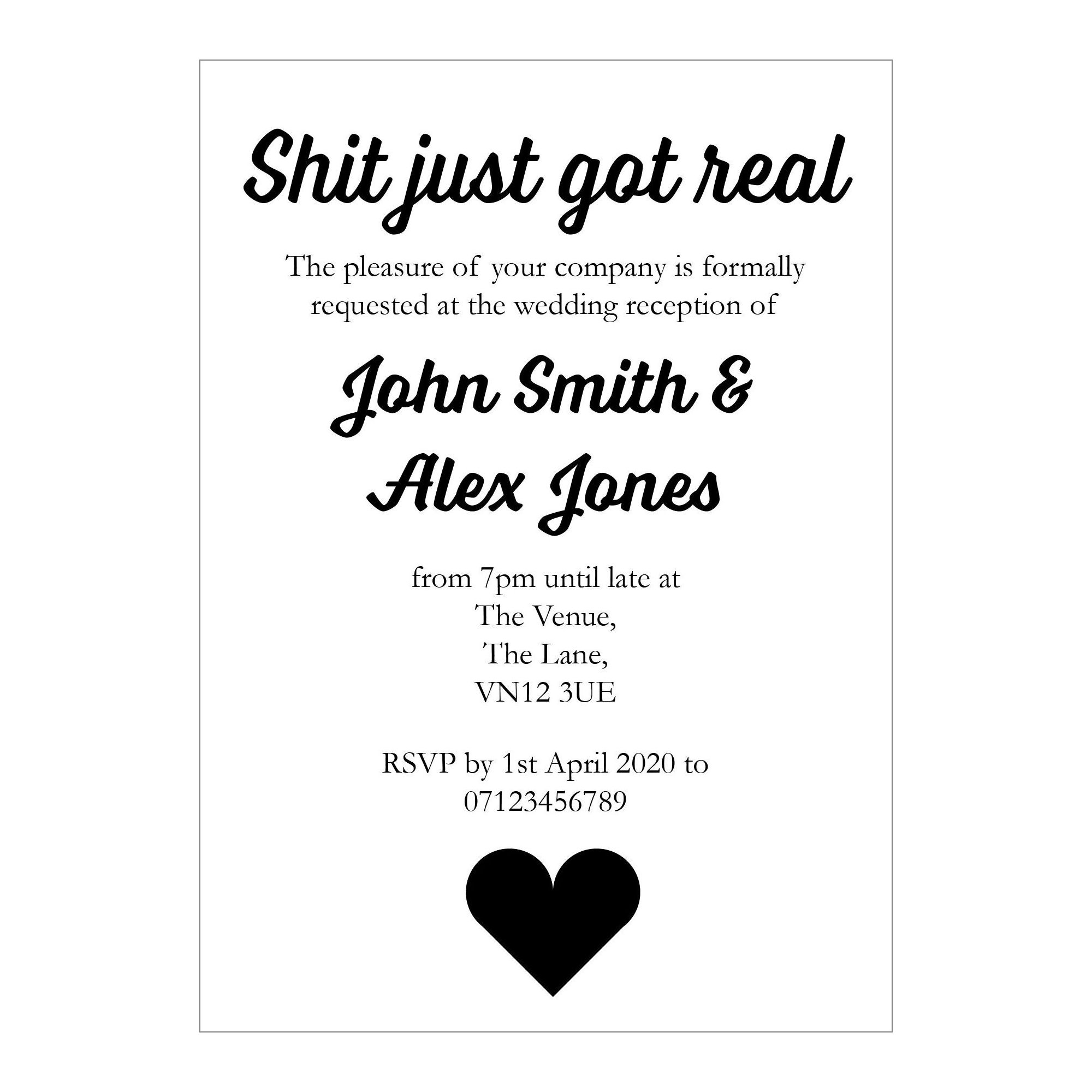 White Recycled Shit Just Got Real Reception Invitations