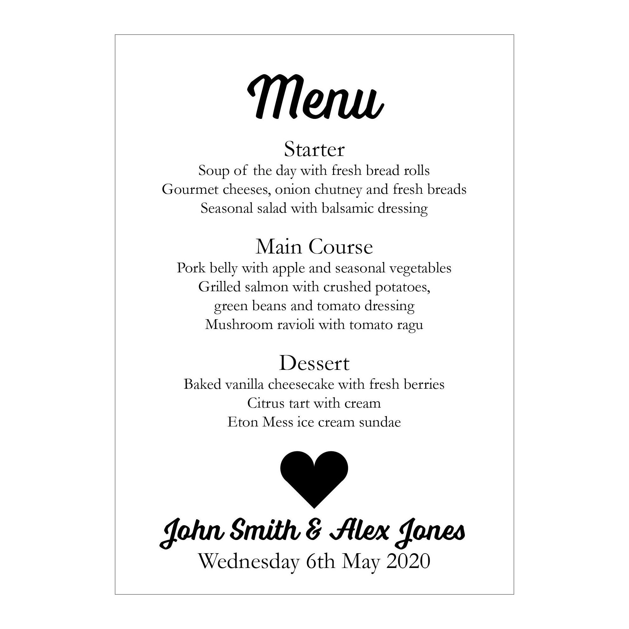 White Recycled Shit Just Got Real Menu Cards