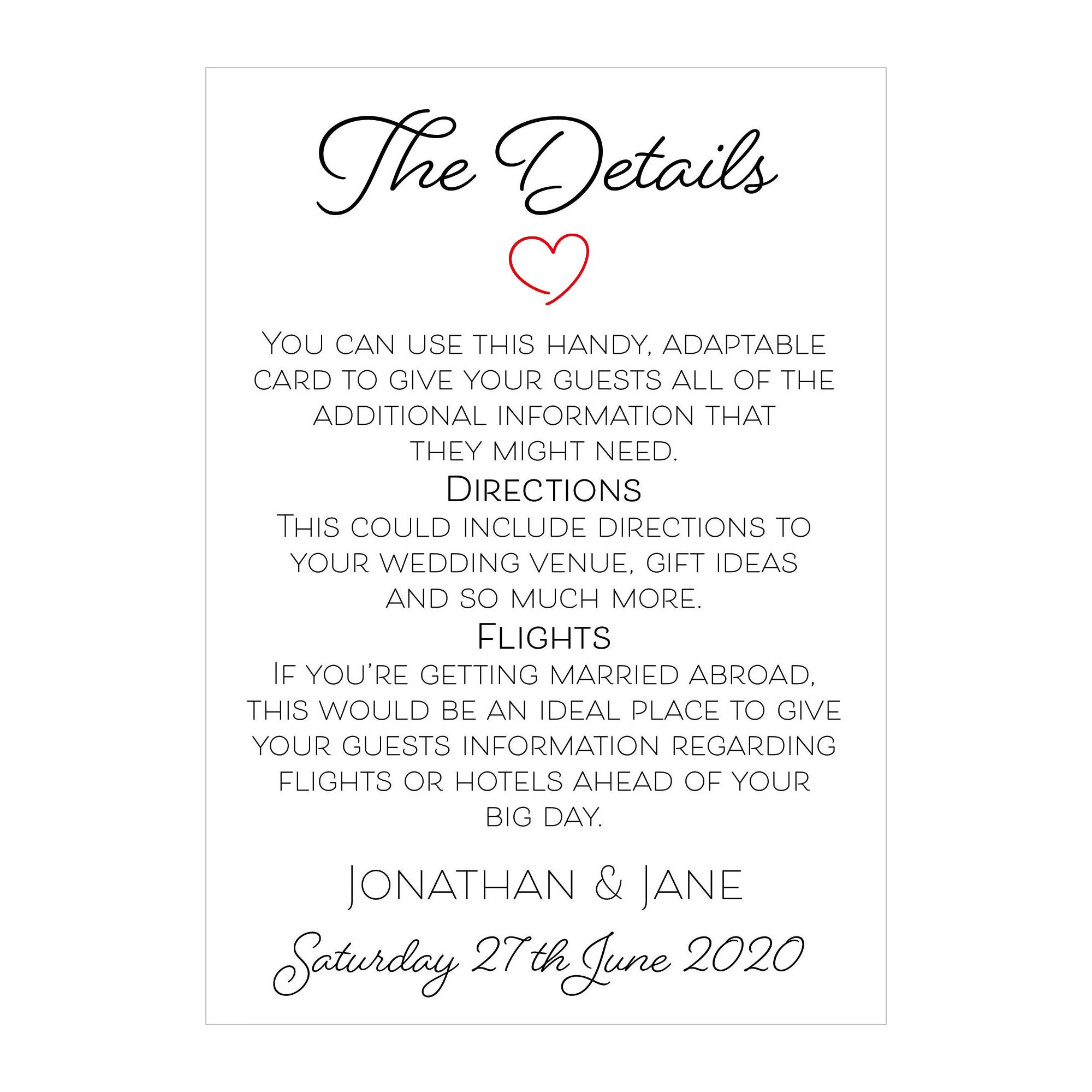 Textured White Cute Heart Guest Information Cards
