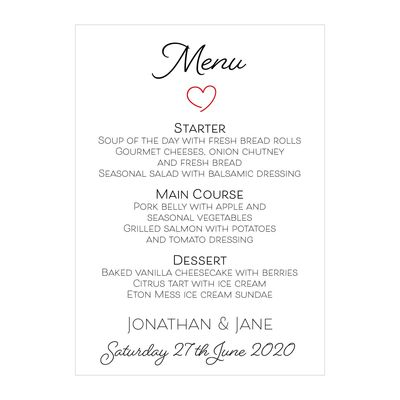 Textured White Cute Heart Menu Cards