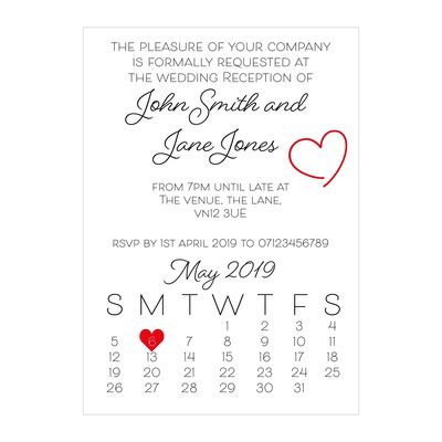 Textured White Cute Heart Reception Invitations