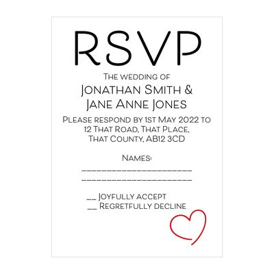 Textured White Cute Heart RSVP Cards