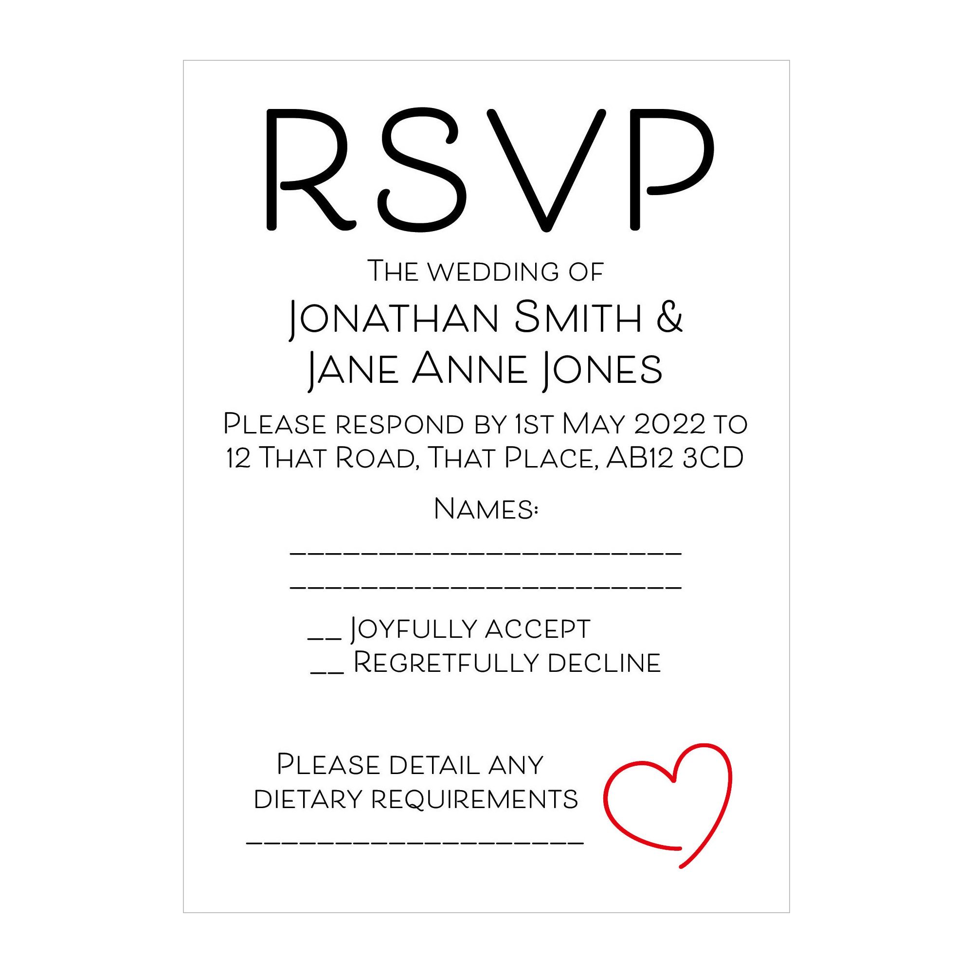Recycled White Cute Heart RSVP Dietary Requirement Cards