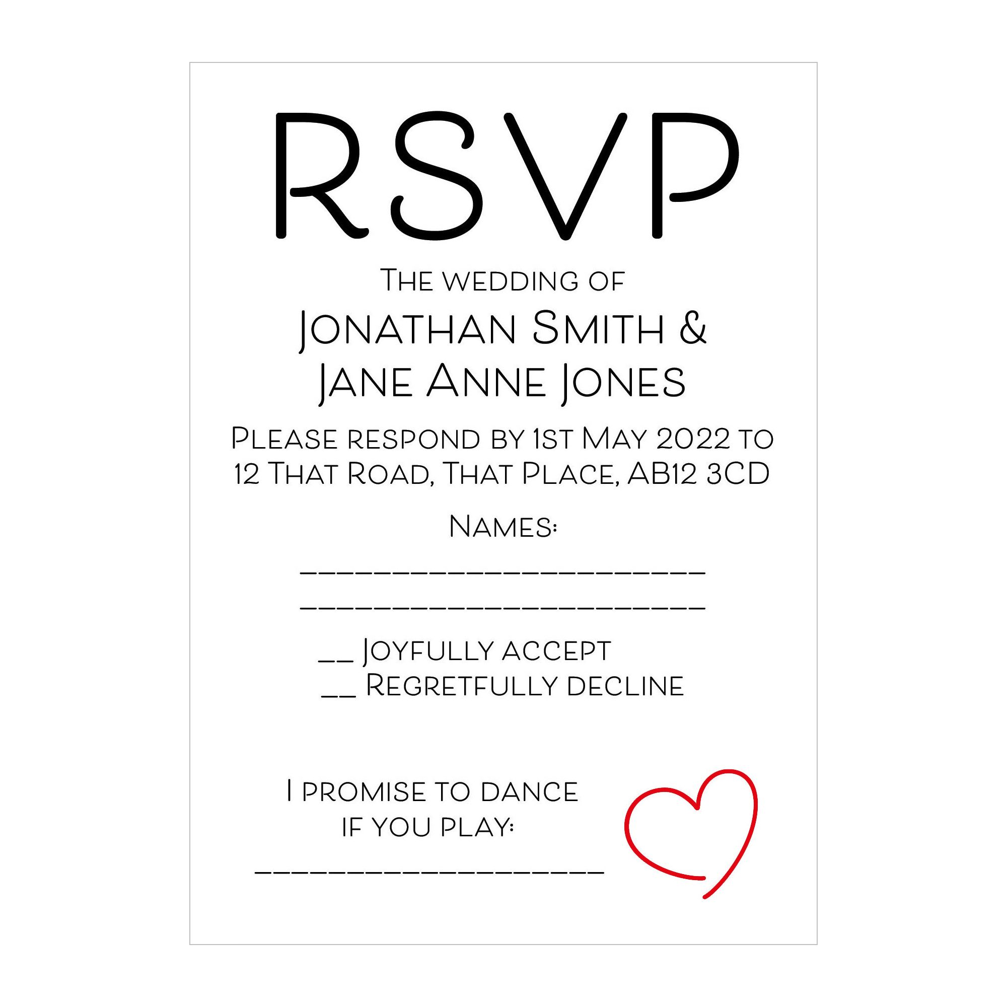 Recycled White Cute Heart RSVP Song Request Cards