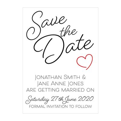 Textured White Cute Heart Save the Date Cards