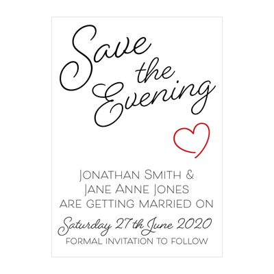 Textured White Cute Heart Save the Evening Cards