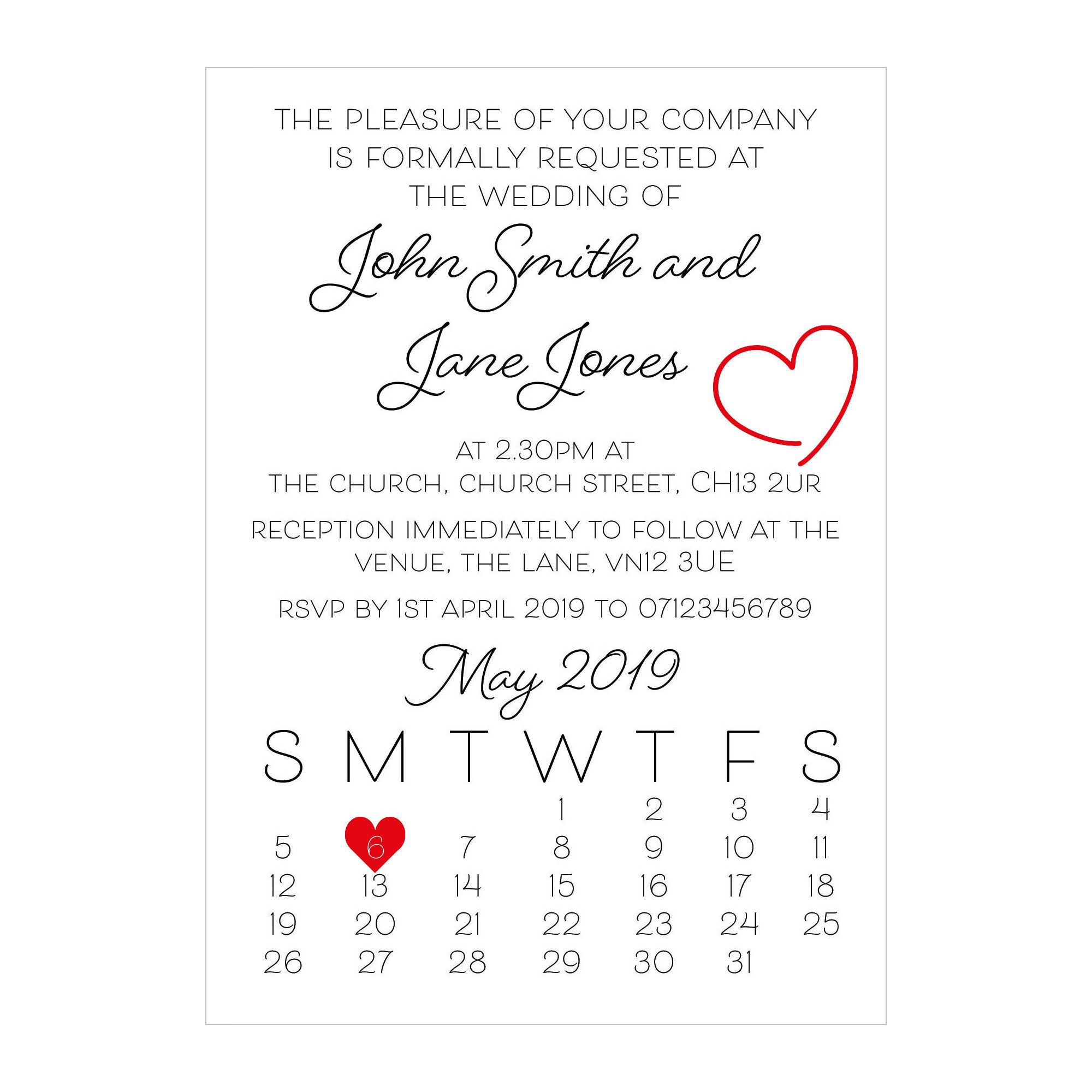 Textured White Cute Heart Wedding Invitations