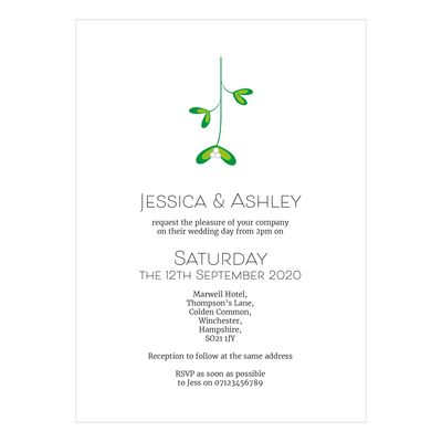 Recycled White Mistletoe Christmas Wedding Invitations