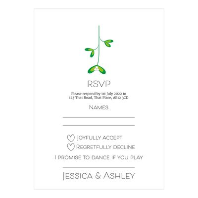 Recycled White Mistletoe Christmas RSVP Song Request Cards