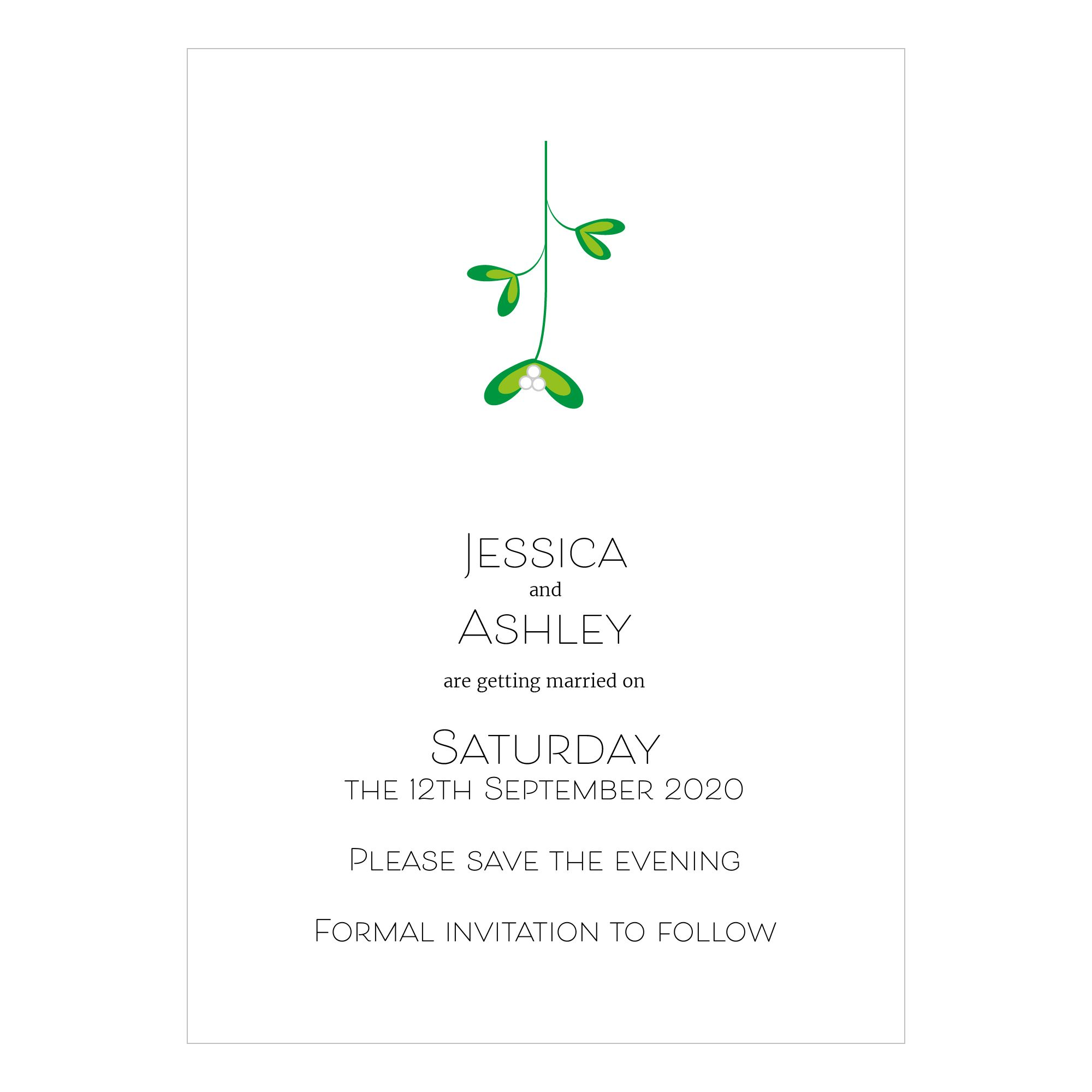 Recycled White Mistletoe Christmas Save the Evening Cards