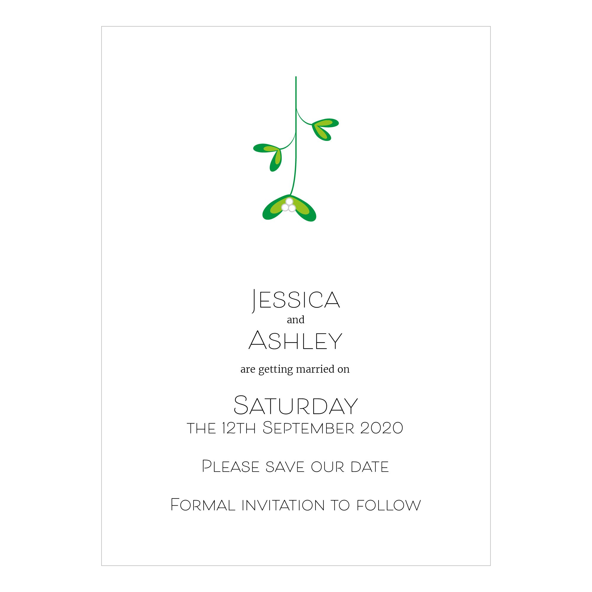 Textured White Mistletoe Christmas Save the Date Cards